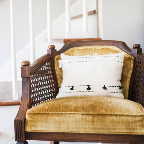 Hand-woven 12 Inch Tasseled Pillow