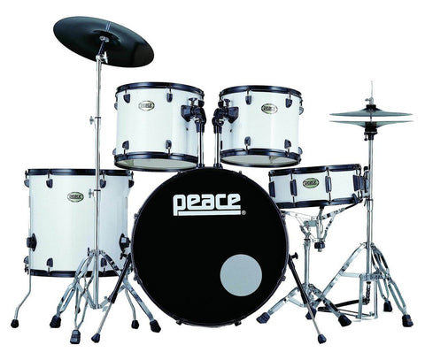 Demolition White 7 piece Drum Set by Peace