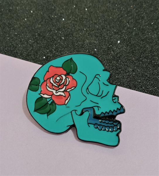 Blue Rose Skull Pin