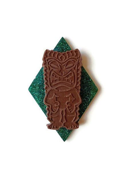 Emerald TIKI Brooch