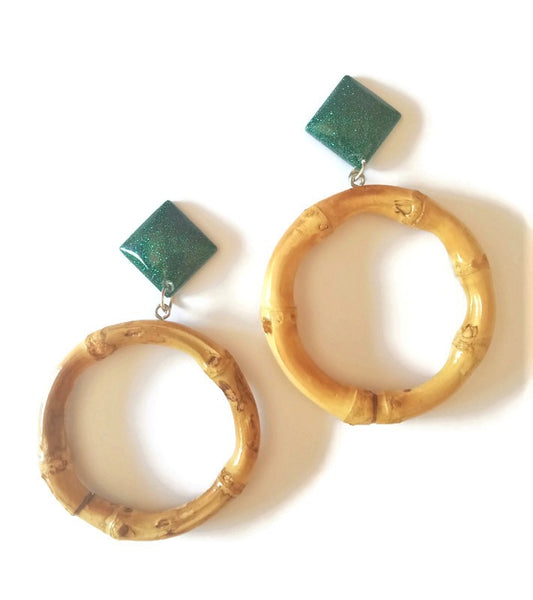 Emerald Bamboo Round Earrings