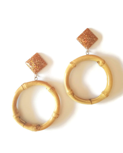 Bronze Bamboo Round Earrings