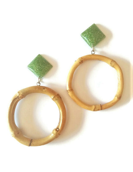 Lime Bamboo Round Earrings