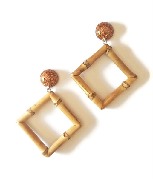 Bronze Bamboo Diamond Earrings