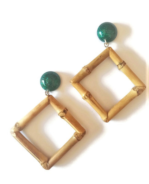 Emerald Bamboo Diamond Earrings