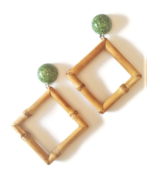 Lime Bamboo Diamond Earrings