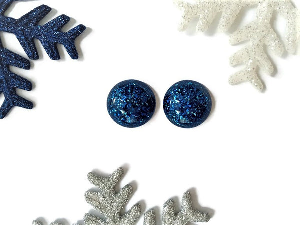 Blue Dome Earrings - Large