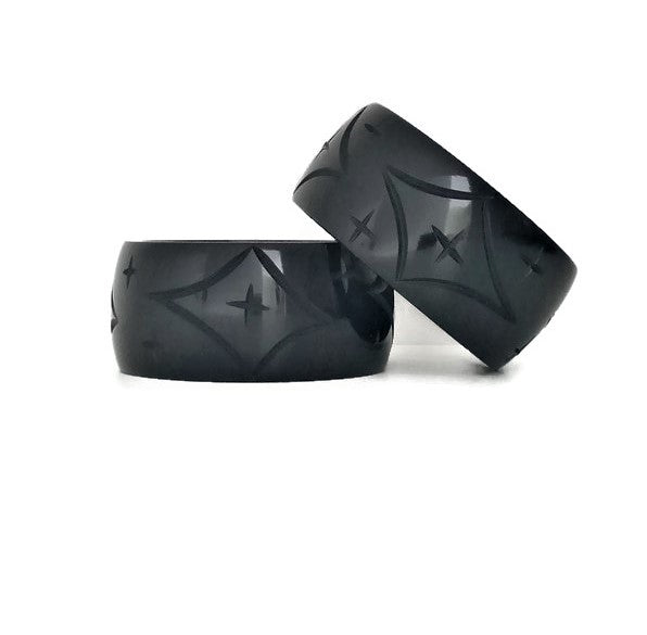 Wide Black Star Bangle