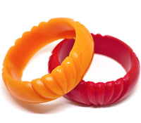 Wide Butterscotch Art Deco Bangle