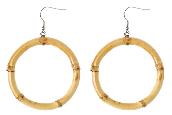 Round Tiki Bamboo Earrings