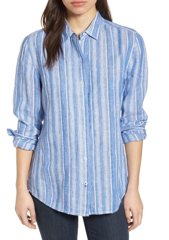 Santiago Stripe Linen Blend Shirt in Blue Sea