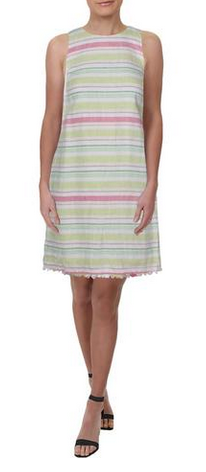 Tulum Linen Striped Shift Dress