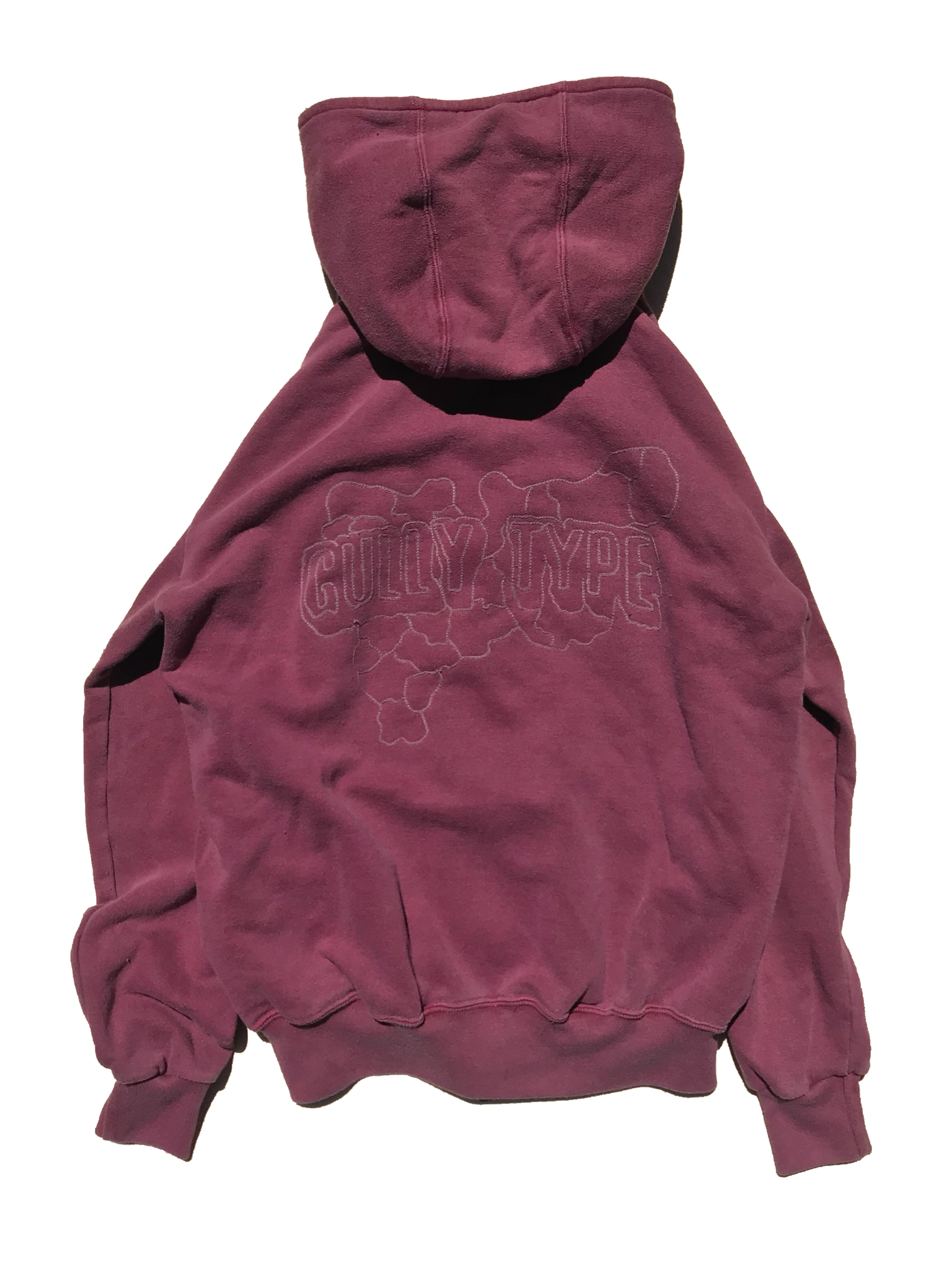 Chain Stitch Zip Hoodie - Faded Red