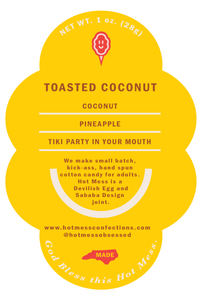 Product Label of toasted coconut gourmet cotton candy