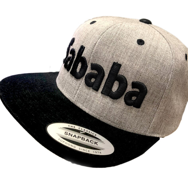 Sababa type snapback hat with raised 3D typography by Sababa Design