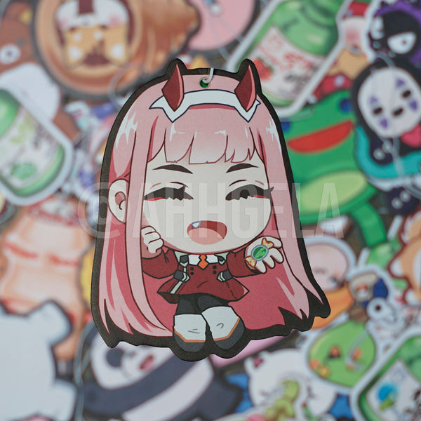 custom zero two anime air freshener