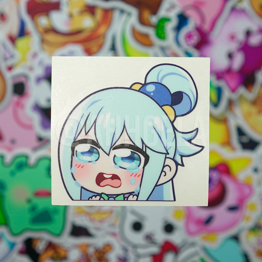 Crying Aqua Mini Peeking Sticker