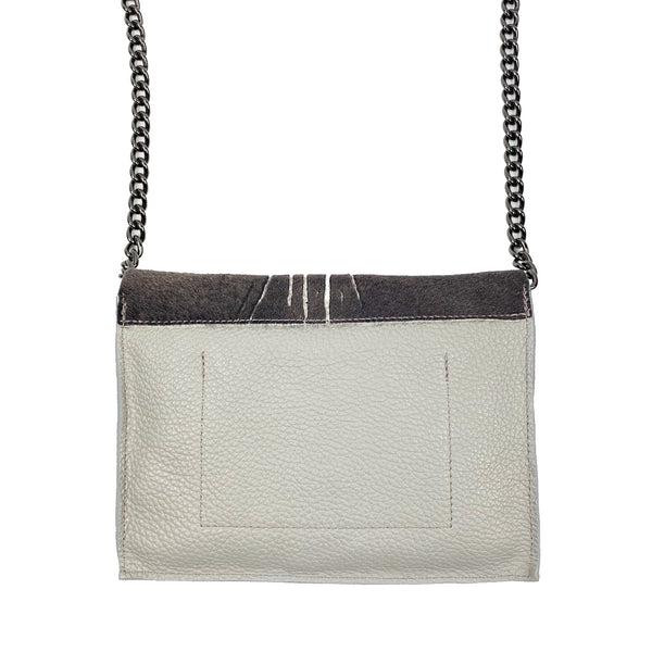 taupe and grey crossover shoulder bag
