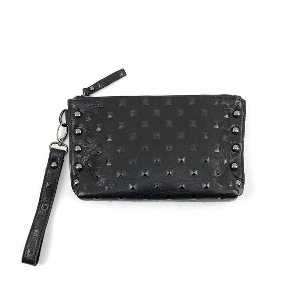 leather studded clutch purse with hand strap