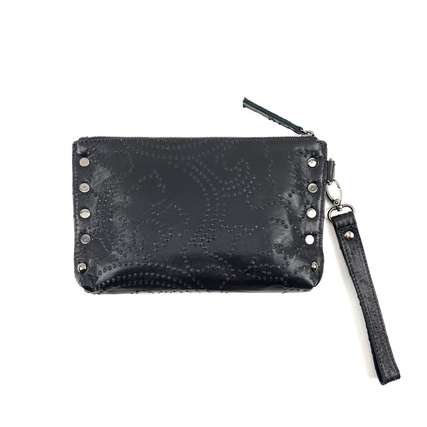 black leather studded clutch purse with hand strap