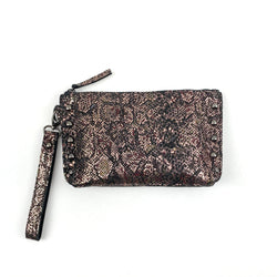metallic snakeskin leather studded clutch purse with hand strap
