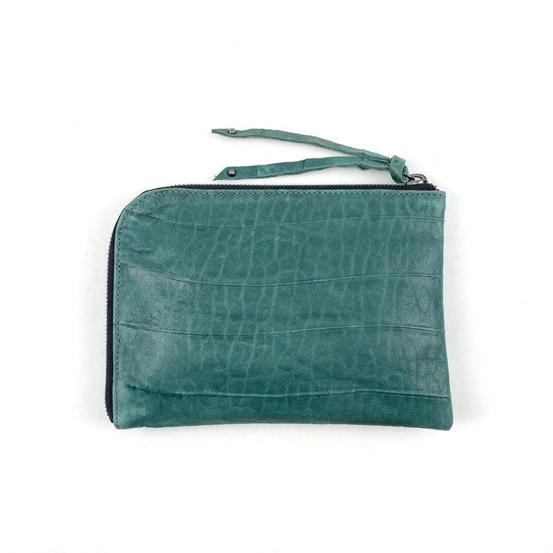 teal leather wallet for women
