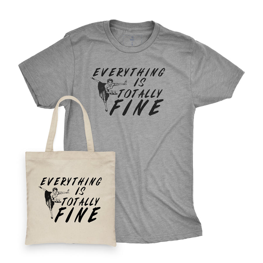 Everything is Totally Fine | Adult Tee and Tote Combo