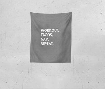 Workout, Tacos, Nap, Repeat | Blanket