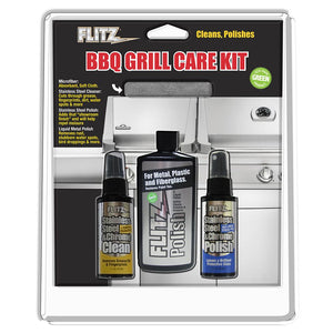 Flitz BBQ Grill Care Kit w-Liquid Metal Polish, Stainless Steel Cleaner, Stainless Steel Polish-Protectant Towelettes & Microfiber Cloth