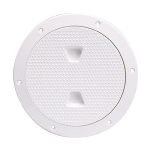 "Beckson 6"" Non-Skid Screw-Out Deck Plate - White"