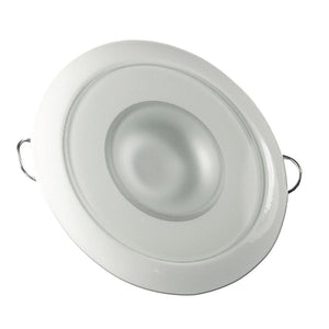 Lumitec Mirage - Flush Mount Down Light - Glass Finish-White Bezel - 3-Color Red-Blue Non Dimming w-White Dimming