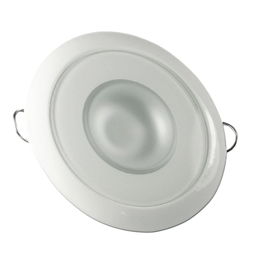 Lumitec Mirage - Flush Mount Down Light - Glass Finish-White Bezel - Warm White Dimming