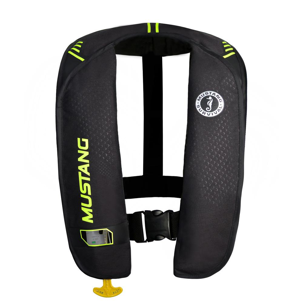 Mustang MIT 100 Inflatable Automatic PFD - Black-Flourescent Yellow-Green