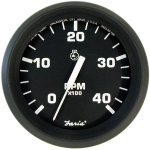 "Faria Euro Black 4"" Tachometer - 4,000 RPM (Diesel - Mechanical Takeoff & Var Ratio Alt)"