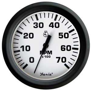 "Faria Euro White 4"" Tachometer - 7,000 RPM (Gass - All Outboards)"