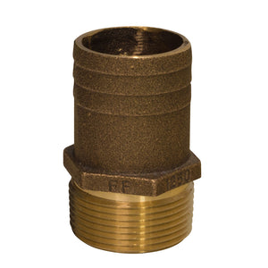 "GROCO 1-2"" NPT x 3-4"" Bronze Full Flow Pipe to Hose Straight Fitting"