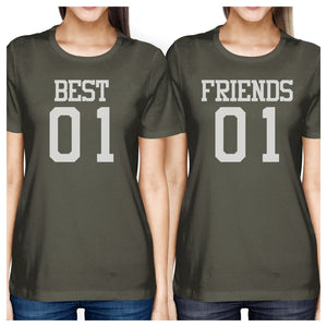 Best01 Friends01 BFF Matching Dark Grey T-Shirts