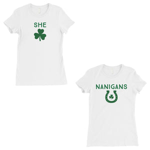 Shenanigans BFF Matching Shirts Womens White St Paddy's Day Outfit