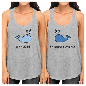 Whale Be Friend Forever BFF Matching Grey Graphic Tanks For Summer