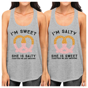 Sweet And Salty BFF Matching Grey Tank Tops