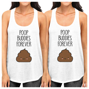 Poop Buddies BFF Matching White Tank Tops