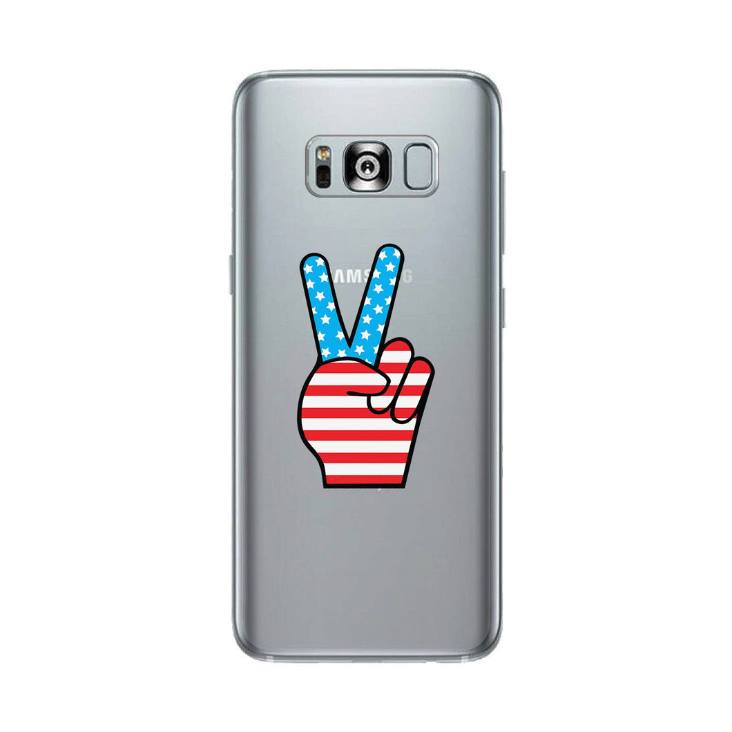 American Flag Peace Clear Phone Case