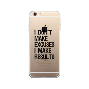 Excuses Results Clear Case Funny Gym Gift Phone Case Slim Fit Cover