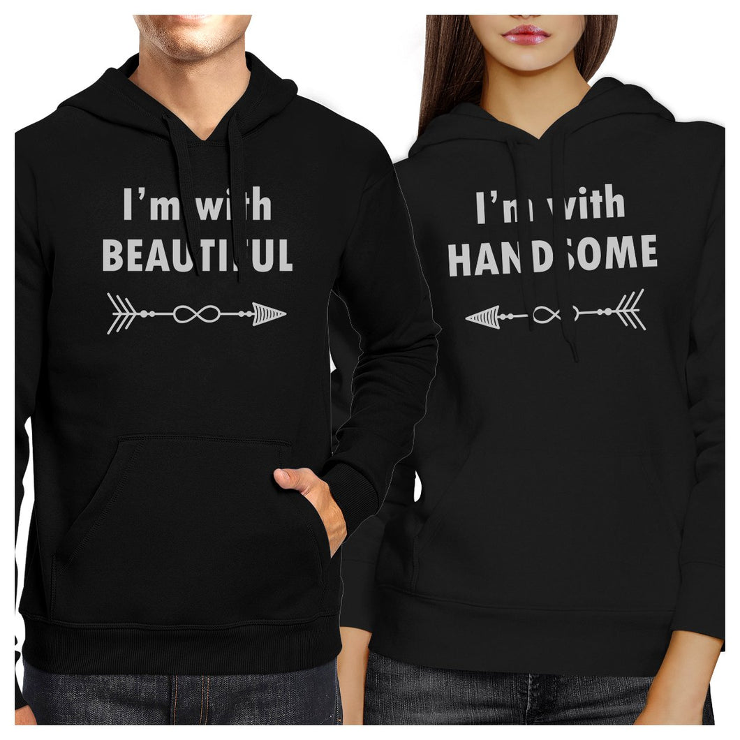 I'm With Beautiful And Handsome Matching Couple Black Hoodie