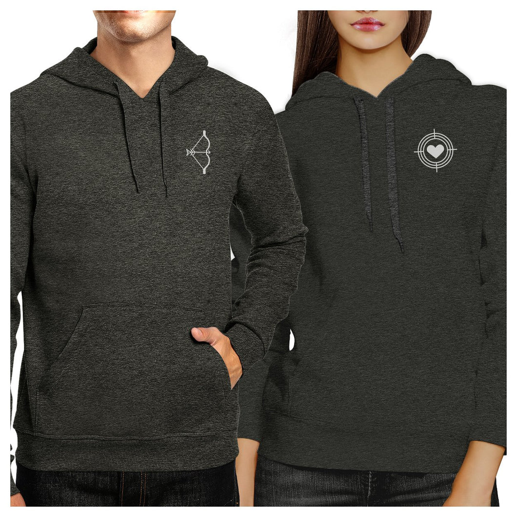 Bow And Arrow To Heart Target Matching Couple Dark Grey Hoodie