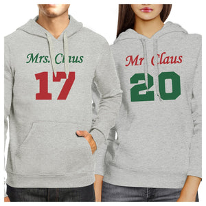 Mr. And Mrs. Claus Matching Couple Grey Hoodie