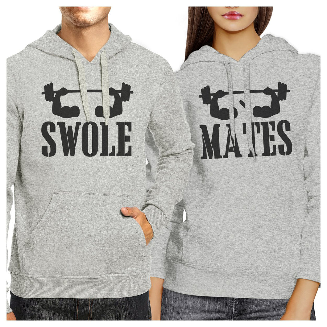 Swole Mates Grey Matching Hoodies Pullover Funny Fitness Gym Gifts