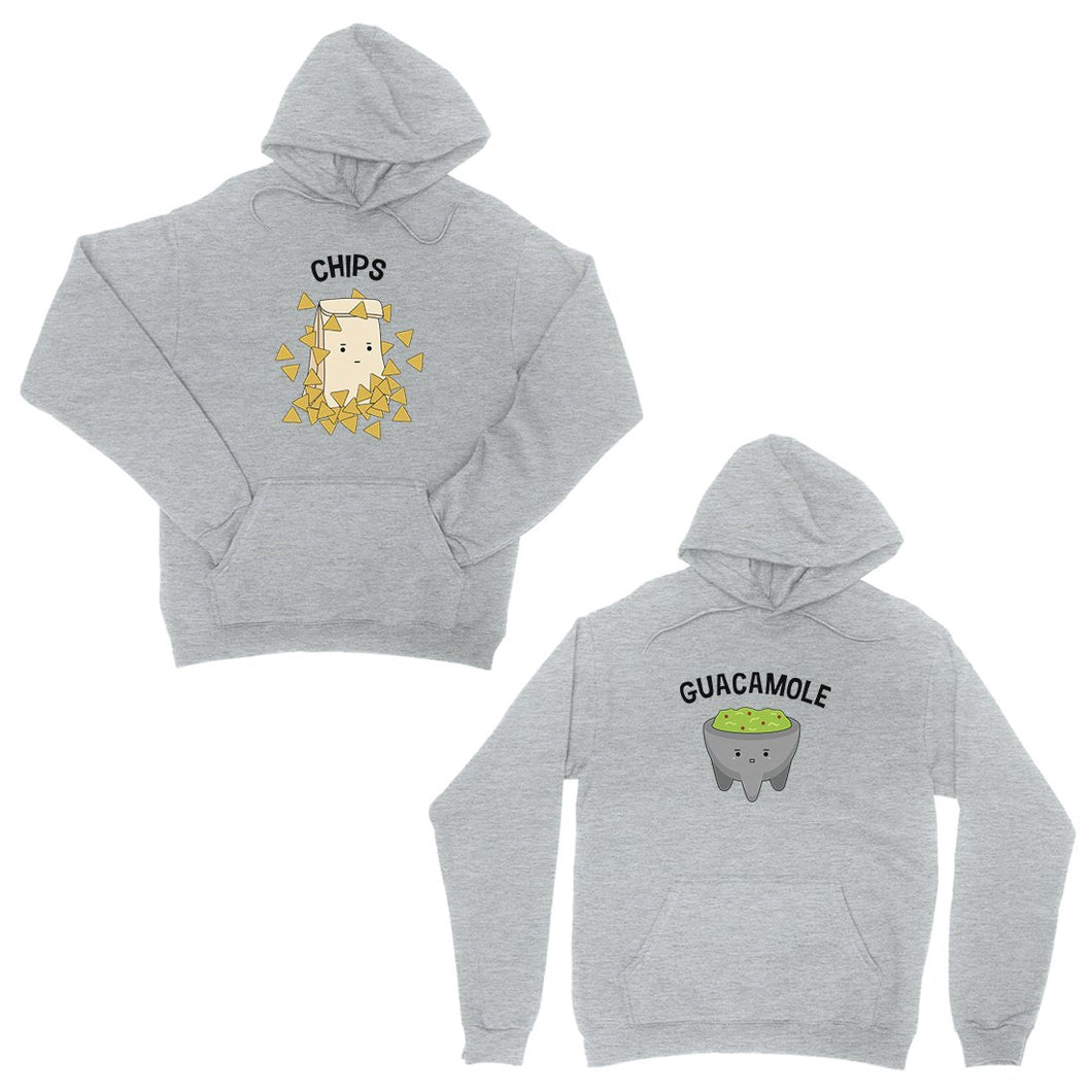 Chips & Guacamole Grey Matching Couple Hoodies For Anniversary Gift