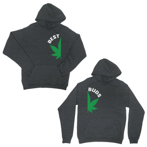 Best Buds Marijuana Dark Grey Matching Couple Hoodies For Newlyweds