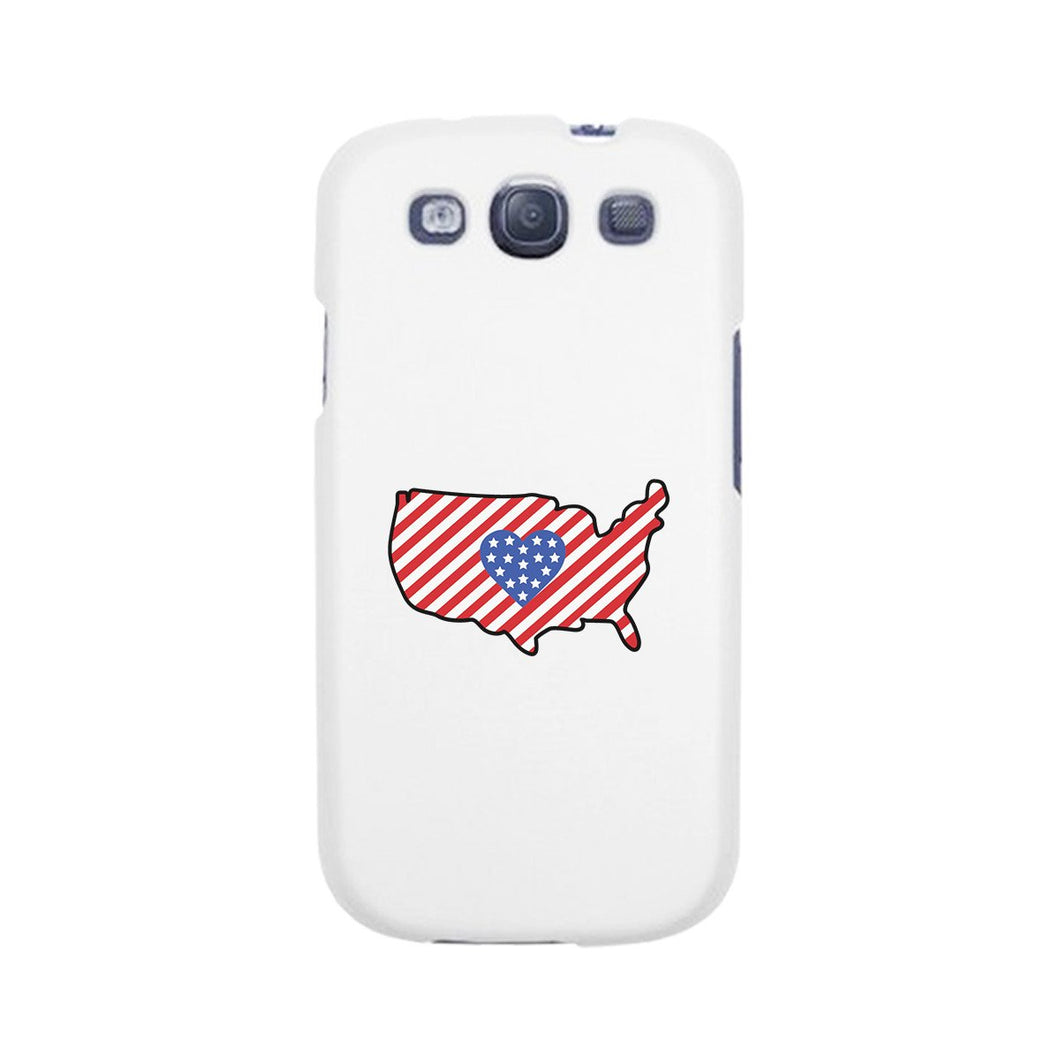 USA Map American Flag White Phone Case